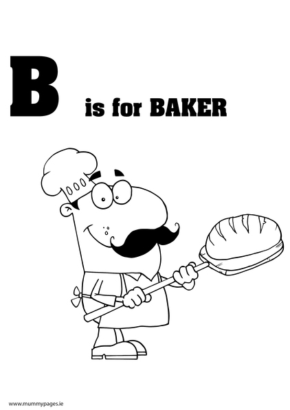 B is for baker colouring page mummypages for Baker coloring page