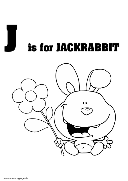 J is for jack rabbit colouring page mummypages for Jack rabbit coloring page
