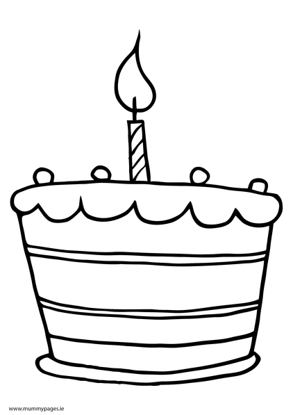 Cake With One Candle Colouring Page