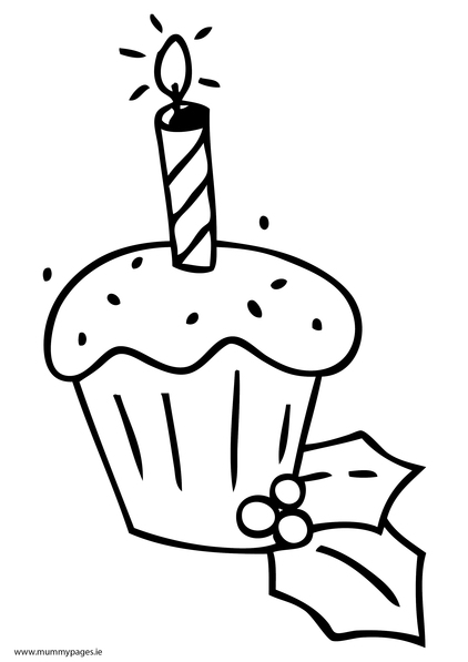 christmas cupcake with candle colouring page mummypages