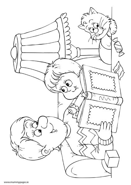 coloring pages of kids reading - photo#9