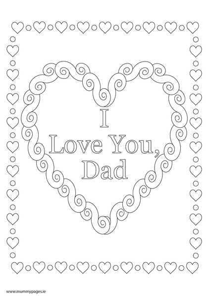 Love You Dad Colouring Page