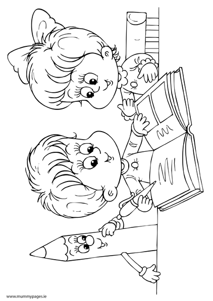 Boy and girl reading a book Colouring Page | MummyPages ...