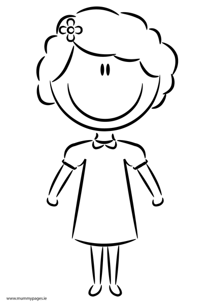 Girl In Casual Dress Colouring Page