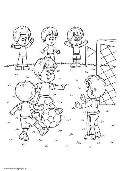 Boys playing football Colouring Page | MummyPages ...