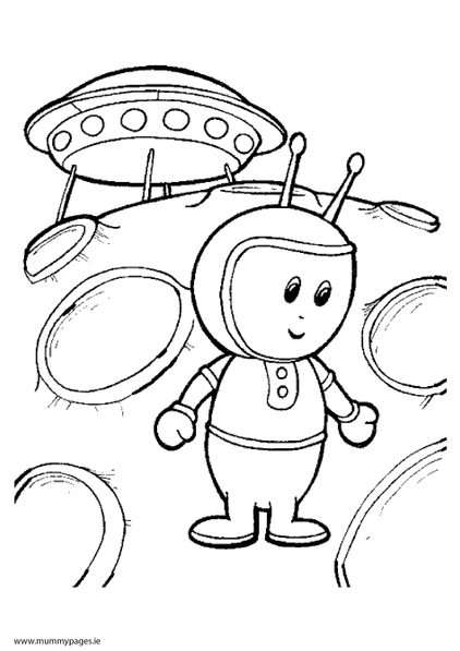 Space alien and flying saucer colouring page mummypages for Flying saucer coloring page