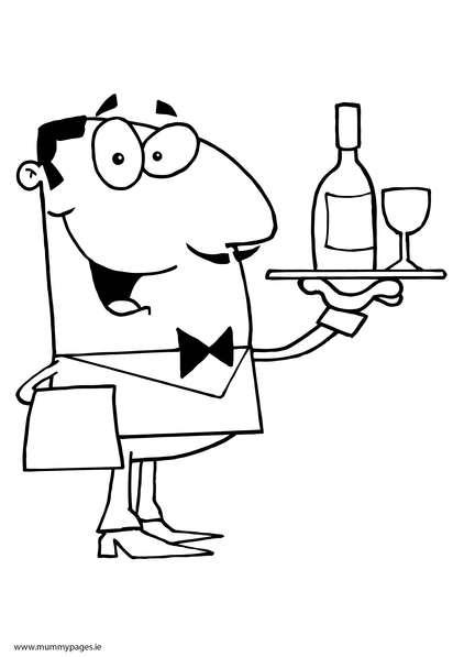 waitress coloring pages - photo#15
