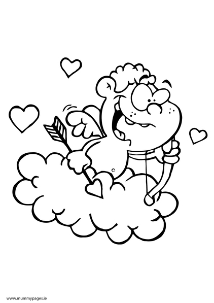 Cupid on a cloud Colouring Page | MummyPages.MummyPages.ie