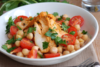 Harissa chicken with chickpea salad