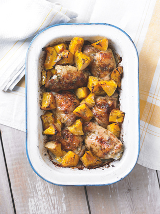 Tangy chicken and squash tray bake