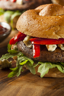 Grilled portobello, peppers and cheese sandwiches