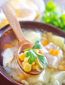 Skinny vegetable and chicken chowder