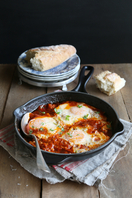 One pot egg and tomato sauce supper