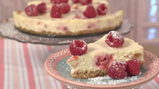 Baked lemon and raspberry cheesecake