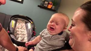 What about ME? This adorable tot is ALLERGIC to her parents kissing