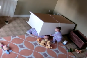 Shocking footage of the moment this toddler saved his twin from fallen dresser